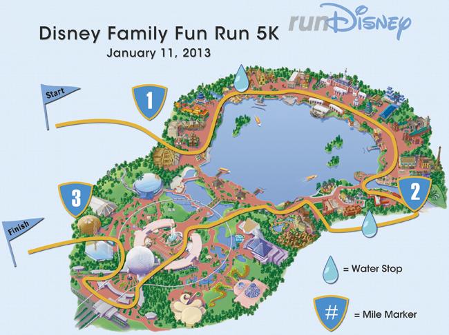 2013 Walt Disney World Family 5K Marathon Course Map