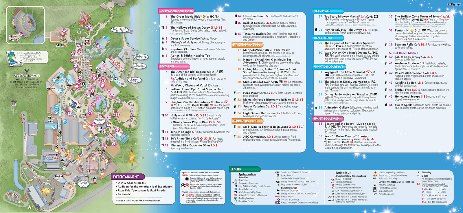 2013 Hollywood Studios Park Map
