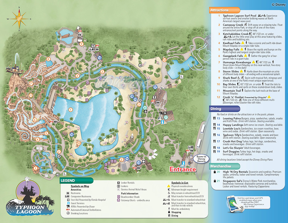 2013 Typhoon Lagoon Water Park Map