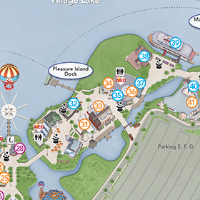 Downtown Disney Map updated - Pleasure Island and parking lots ... on