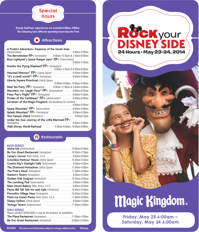 Rock Your Disney Side - Event Schedule
