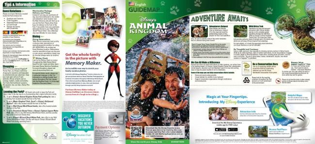 Disney's Animal Kinggdom Park Map 2014 (Front)