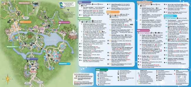 Disney's Animal Kinggdom Park Map 2014 (Front)